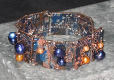 iMac blue & orange circuit board bracelet